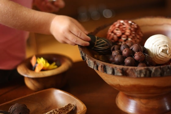 wooden bowls for sorting into on a fall sensory table