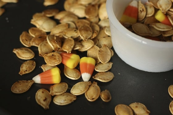 candy corn and roasted pumpkin seeds