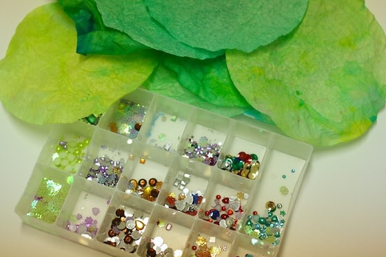 craft jewels and painted dyed filters