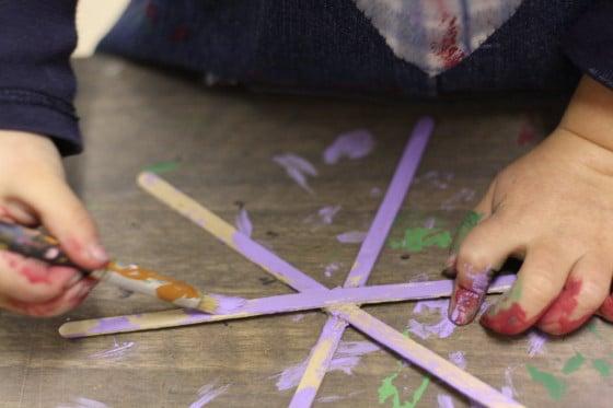 painting craft stick snowflake ornament