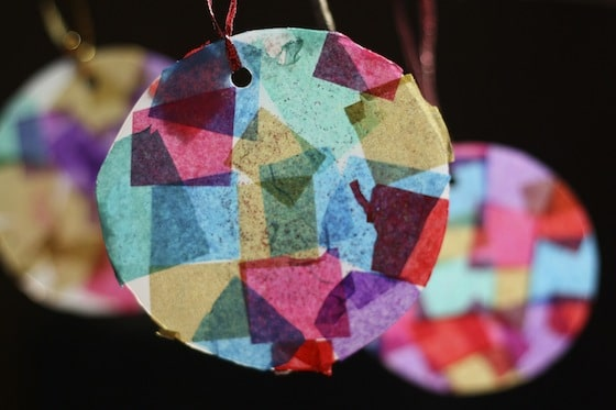 Tissue Paper Mosaic Ornaments