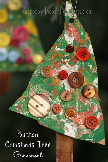 Brown and Red Button Christmas Tree Ornament