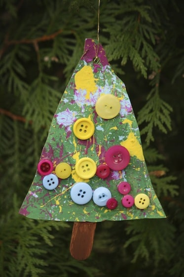 Yellow, Pink and Blue Button Christmas Tree Ornament