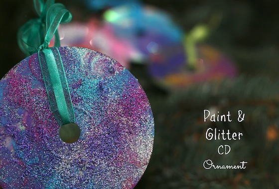 CD Christmas ornaments with paint and glitter
