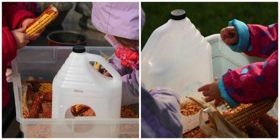 children filling milk jug bird feeder with corn kernels