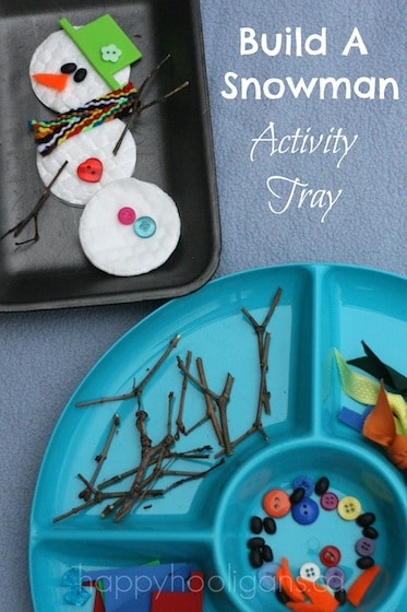 """build a snowman"" activity tray"