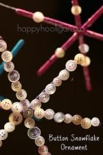 Snowflake Ornaments with Craft Sticks and Buttons