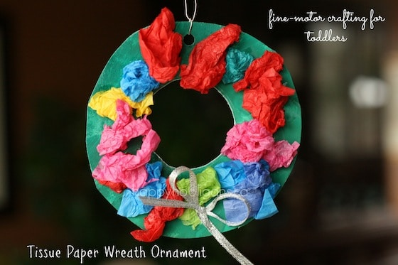 tissue paper wreath ornament