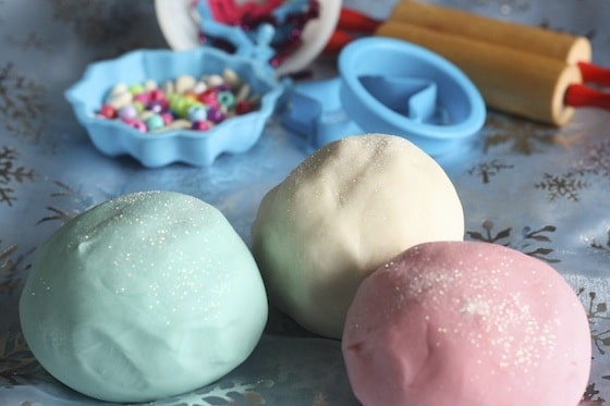 3 colours of Christmas Cookie Playdough with glitter