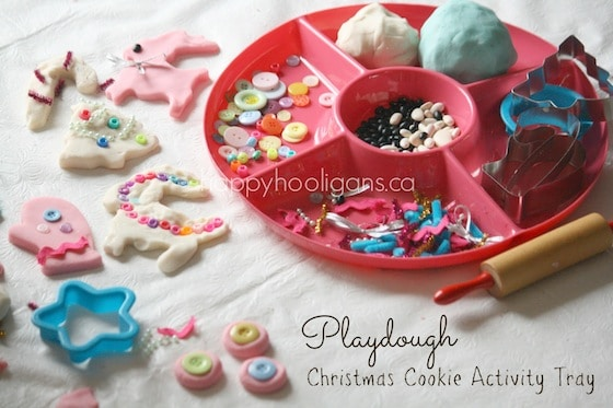 Christmas play dough Activity tray surrounded by play dough cookies