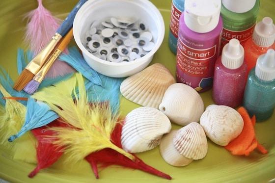 supplies for bird seashell ornaments