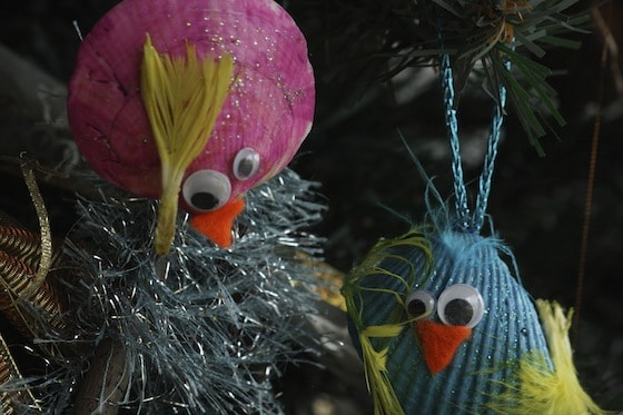 homemade christmas ornaments from seashells