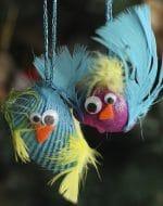 Bird Seashell Christmas Ornaments for Kids to Make