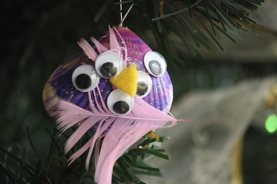 pink and purple seashell bird ornament