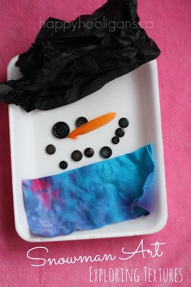 Snowman Art – exploring texture with kids