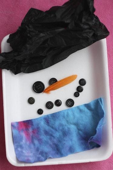 snowman face: art using a variety of sensory materials