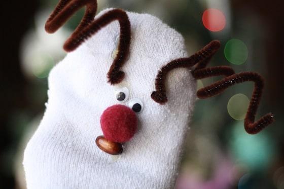 no sew reindeer sock puppet
