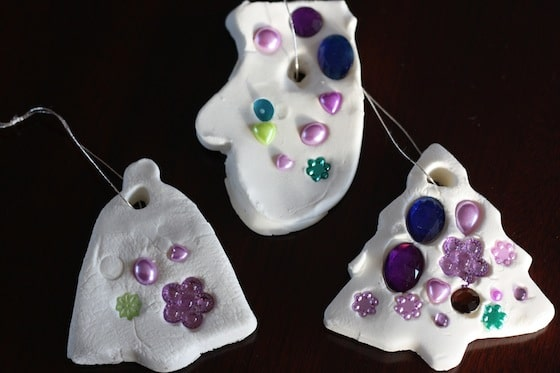 white clay dough ornaments made with baking soda and cornstarch