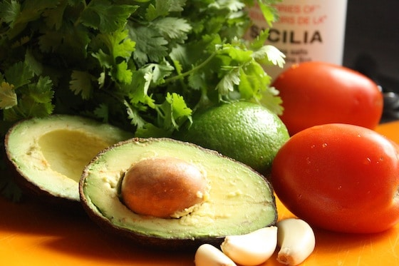 fresh ingredients for homemade guacamole