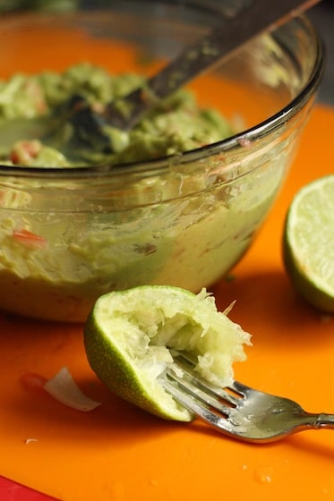 lime squeezed into homemade guacamole