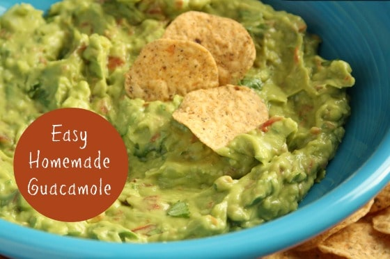 bowl of guacamole dip with tortilla chips