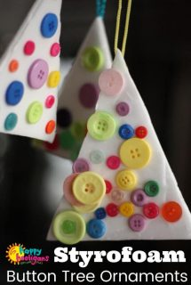 Styrofoam and Button Christmas Tree Ornaments for Toddlers and Preschoolers