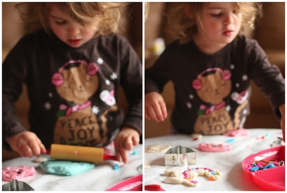 rolling and shaping Christmas Playdough cookies