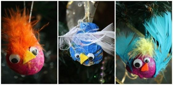 painted seashell bird ornaments