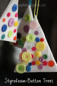 Styrofoam button tree ornaments