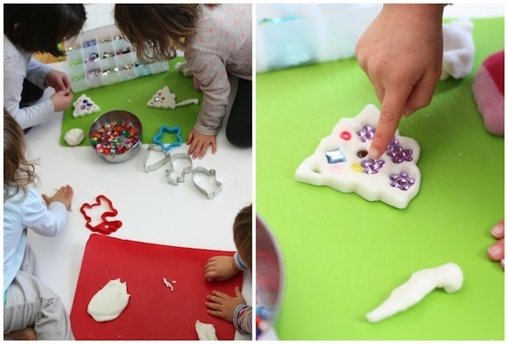cutting and decorating white clay dough ornaments