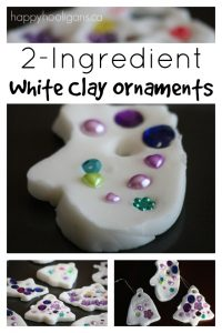white clay ornaments with 2 ingredients plus water