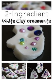 white clay ornaments with baking soda, corn starch and water