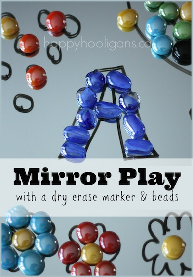 Toddler Art with with Mirrors and Dry Erase Markers