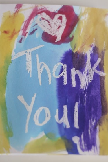 Crayon Resist thank you card painted by child