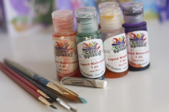 liquid watercolours and a white crayon for creating resist art