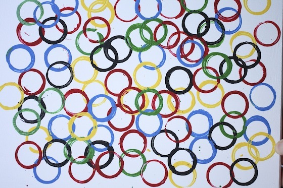 Olympic Ring Art project stamped with cardboard tubes.