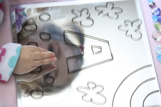drawing on a mirror with dry erase markers