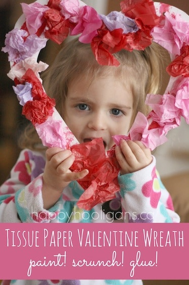 Tissue Paper Valentine Wreath