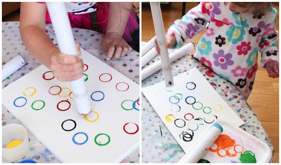 Stamping Olympic rings with cardboard rolls