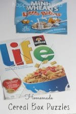 Homemade Cereal Box Puzzles to Make for Kids