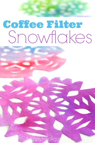 coloured, coffee filter snowflake craft