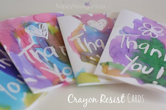 4 homemade Thank You Cards made with crayon resist art process