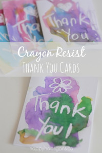 crayon resist thank you cards