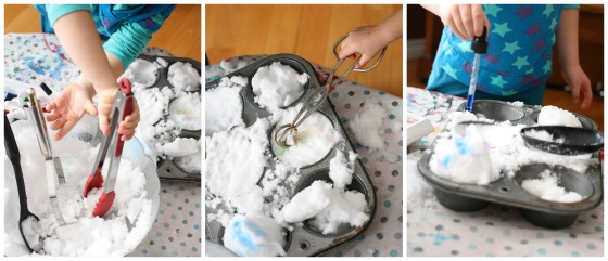 kitchen utensils and muffin tin for snow play