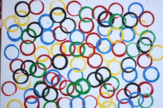 olympic rings stamped with cardboard rolls