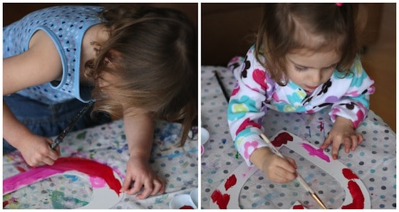 painting valentine's hearts