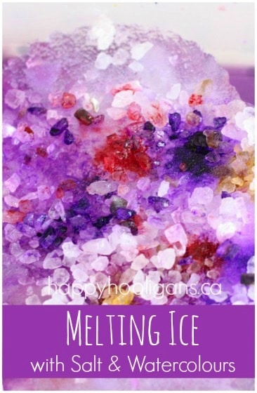 Valentines Ice Melting Activity with Salt and Watercolours
