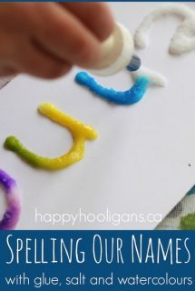 Salt, Glue and Watercolour Writing Activity for Preschoolers