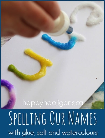writing our names with salt, glue and watercolour art