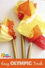 Easy Olympic Torch Craft with Cardboard Rolls and Tissue Paper